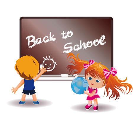 Back to School. Girl and boy in a classroom.   Stock Vector - 7612008