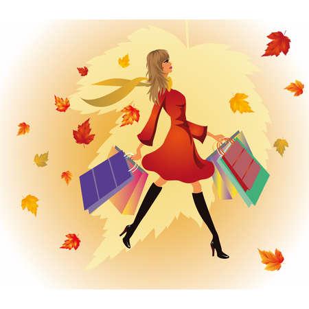 Autumn shopping woman. Stock Vector - 7696898