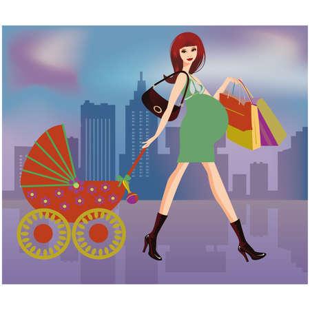 Ilustración de las mujeres embarazadas de compras  Ilustración de vector