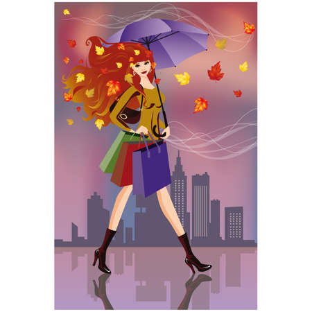 Autumn shopping. Fashion woman with bags.   Stock Vector - 7696901