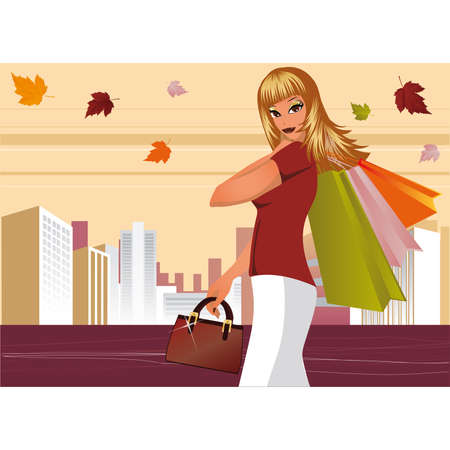 Autumn shopping. Fashion woman with bags in city  Vector