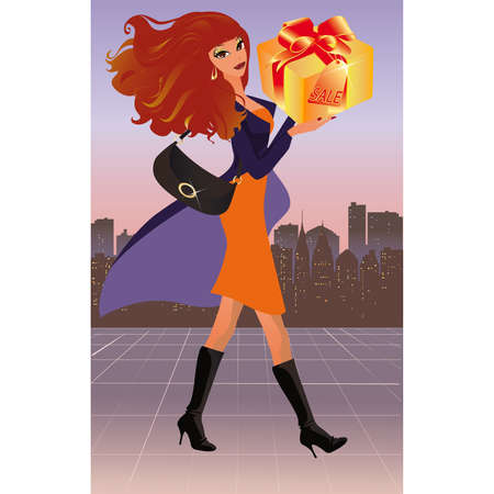 Fashion woman with gift.  Vector