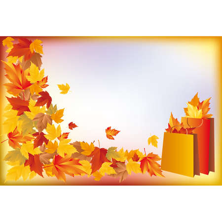 Autumn sale card, shopping bags with maple.   Vector
