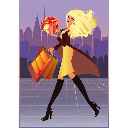 lucky bag: Shopping fashion girl in city