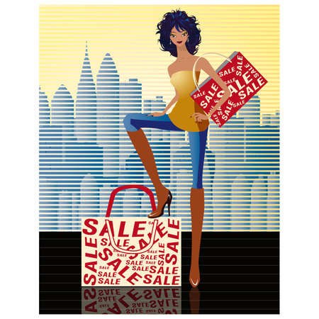 Shopping girl  Stock Vector - 7696939