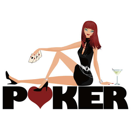 Poker symbol and girl with martini Vector