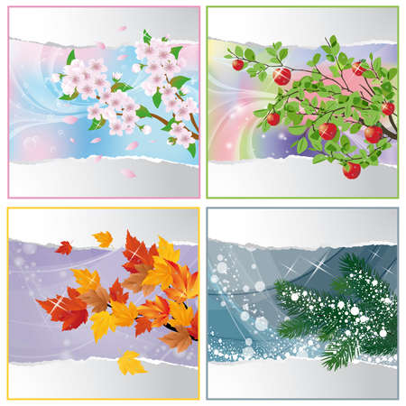 Four seasons.   illustration Vector