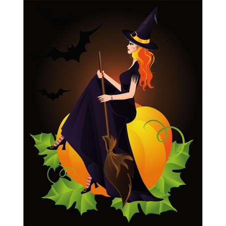 Halloween Witch and pumpkin  Vector