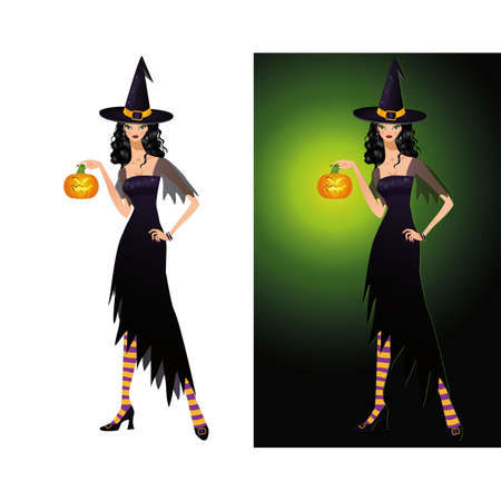 Lady Halloween, card with Witch and Pumpkin. vector illustration Stock Vector - 7844639