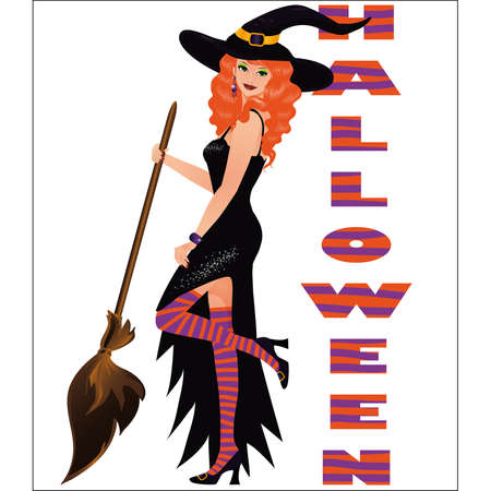 redhead woman: Halloween green-eyed girl, vector  Illustration