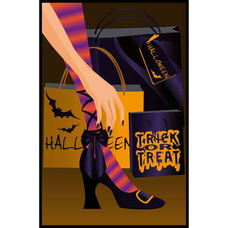 bewitched: Halloween shopping. vector