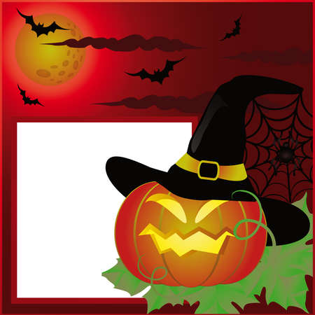 Halloween postcard or photo frame for scrapbooking. vector Vector