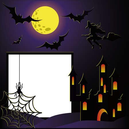 horror castle: Marco de fotos de Halloween para scrapbooking. vector