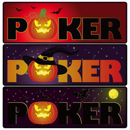 Halloween poker banners,  Vector