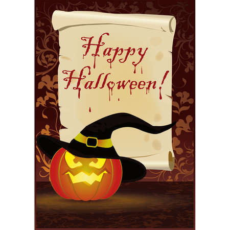 Happy Halloween greeting card,  Vector