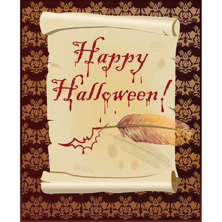 Happy Halloween bloody card,  Vector