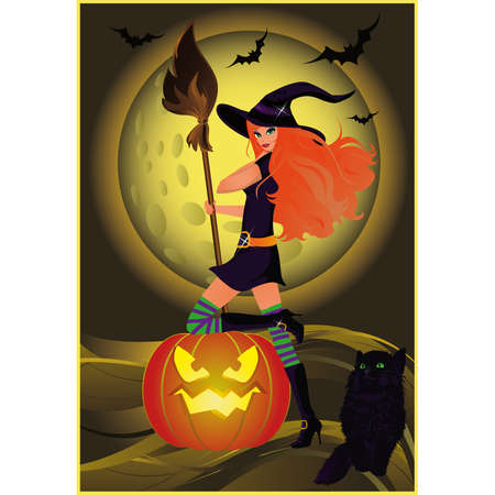 Halloween sexy witch and cat.  Vector