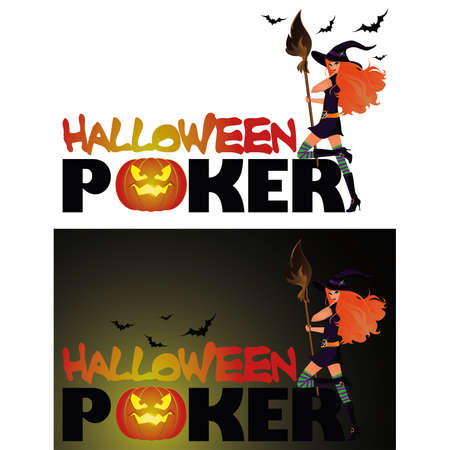 bewitched: Set Halloween poker cards, illustration
