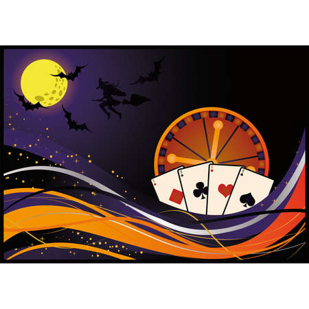 Casino halloween card,  Vector