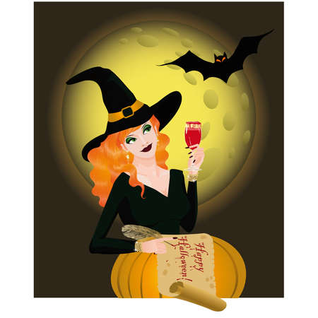 hat with feather: Happy Halloween greeting card with  beautiful witch. illustration