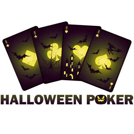 Halloween poker cards,  illustration Vector