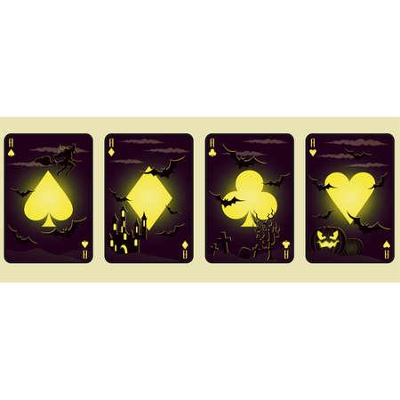 Set Halloween poker cards, vector illustration Vector