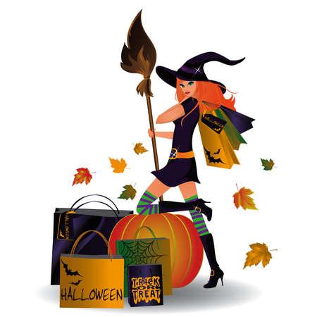 mujer en el supermercado: Venta de Halloween, bruja sexy y compras. vector
