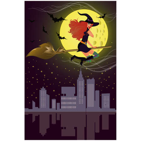 Flying Witch. Happy Halloween card. vector illustration Vector