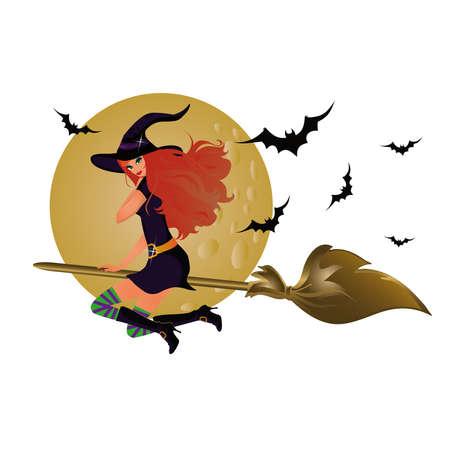 escoba: Bruja de Halloween, ilustración vectorial