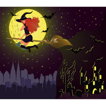 esoteric: Halloween night card. Girl witch fly over city. vector Illustration