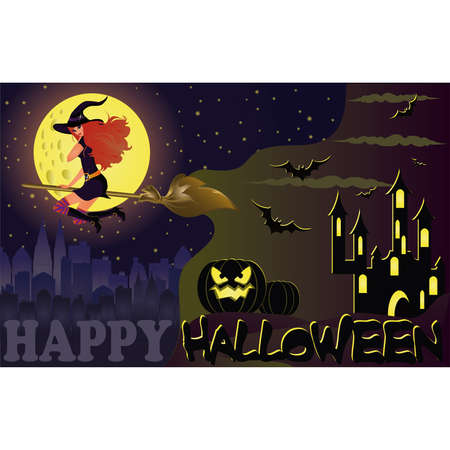 Halloween night. Fly witch. vector  Vector