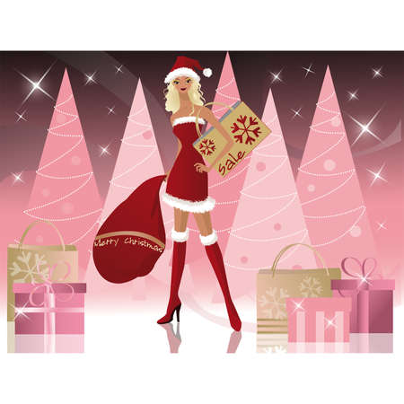 christmas market: Santa-girl with shopping bags, vector