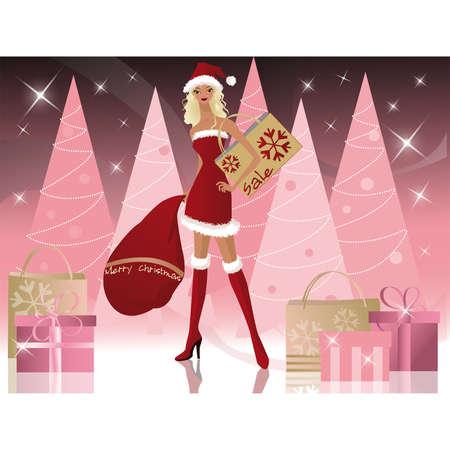 Santa-Girl with Shopping Bags, Vektor  Vektorgrafik
