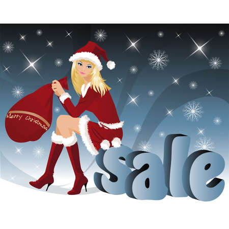 shoppping: Christmas sale. Santa-girl with letters of a word SALE in 3D image. vector illustration