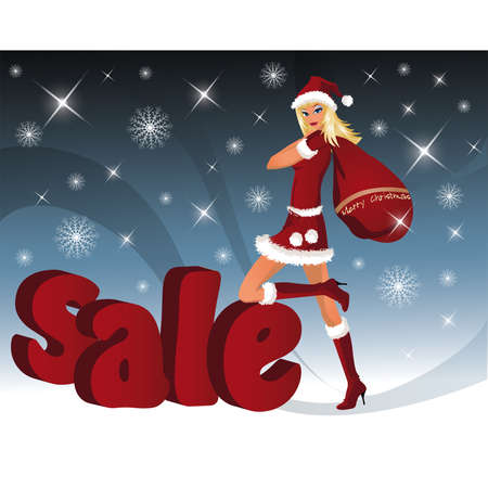 sexy santa: Christmas sale card with Santa-girl. Sale word from three-dimensional letters. vector illustration
