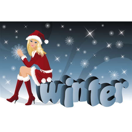 Christmas girl and word winter 3D image. vector Vector