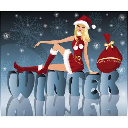 Winter card with sexy Santa-girl, vector  Stock Vector - 7967188