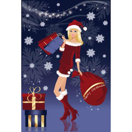 Christmas shopping card with Santa-girl , vector illustration Vector