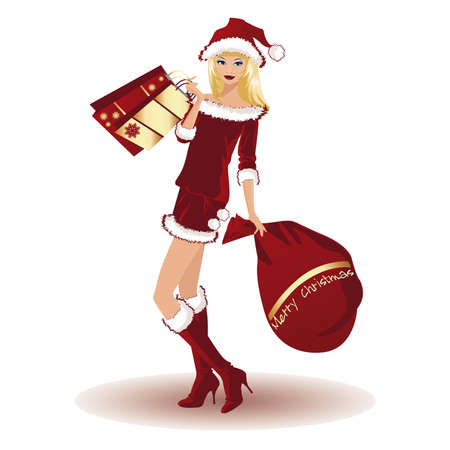 kerst markt: Kerstmis meisje met boodschappentassen, vectorillustratie