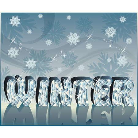 Diamond word Winter in 3D image, vector  Stock Vector - 7967192