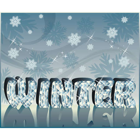 Diamond word Winter in 3D image, vector  Vector