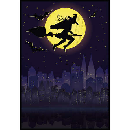Witch flying on a broom in moonlight.   Vector