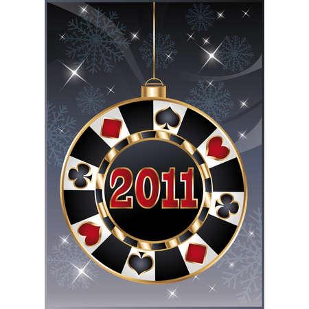Christmas casino card, poker chip 2011 new year. illustration Vector