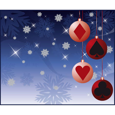 ace of diamonds: Casino Christmas card with balls.  Illustration