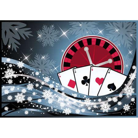 Christmas casino banner,  illustration  Vector