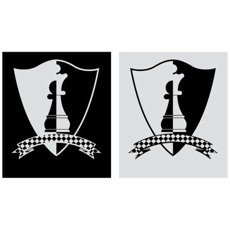 the rook: Chess crest with pawn and queen.  illustration Illustration