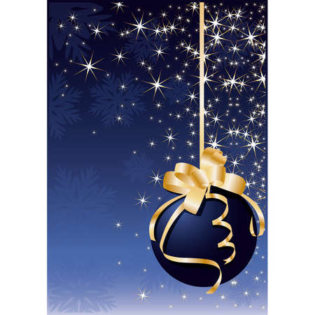 shiny christmas baubles: Christmas greeting card with blue ball,  illustration Illustration
