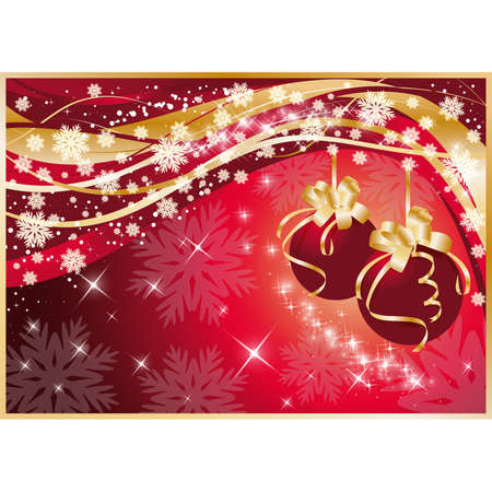 Winter card with Red Christmas Balls, illustration Vector