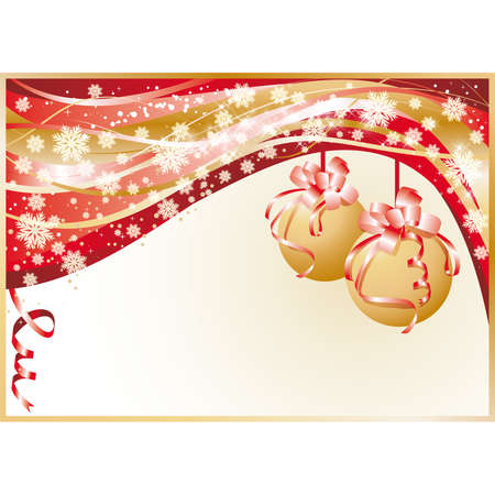 Christmas greeting card with golden balls, illustration Vector