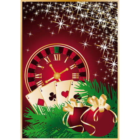 midnight hour: Casino Christmas greeting card with roulette-clock